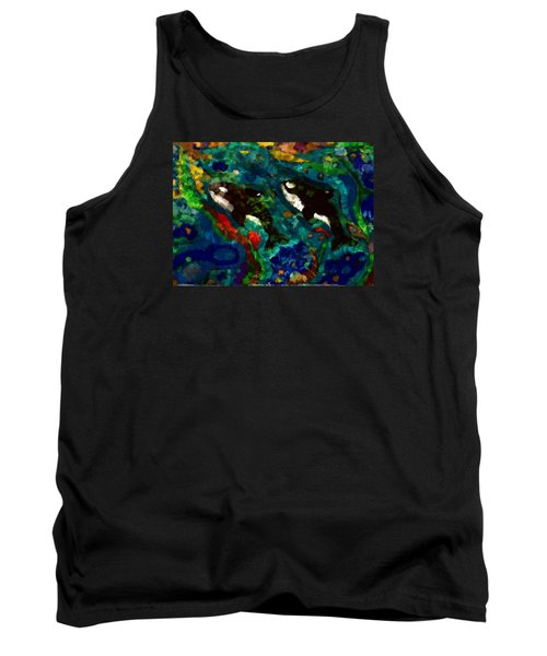 Whales At Sea - Orcas - Abstract Ink Painting Tank Top