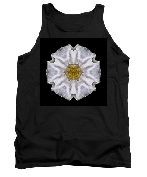 White Beach Rose I Flower Mandala Tank Top