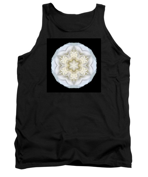 White Begonia II Flower Mandala Tank Top