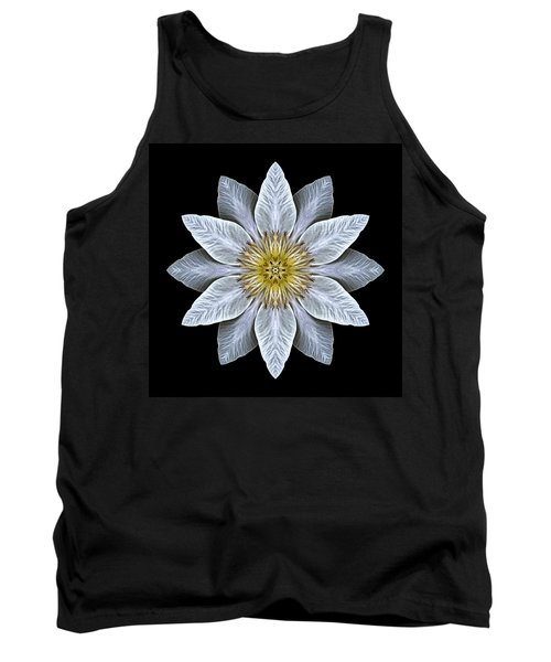 White Clematis Flower Mandala Tank Top