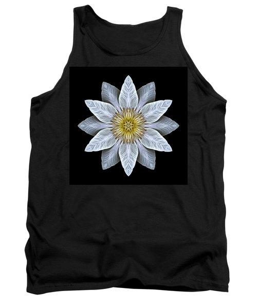 White Clematis Flower Mandala Tank Top