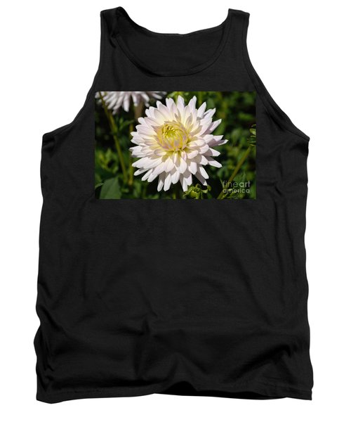 White Dahlia Flower Tank Top