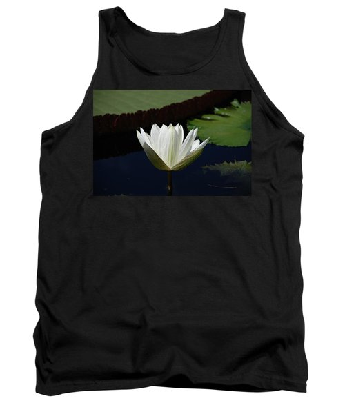 Tank Top featuring the photograph White Flower Growing Out Of Lily Pond by Jennifer Ancker