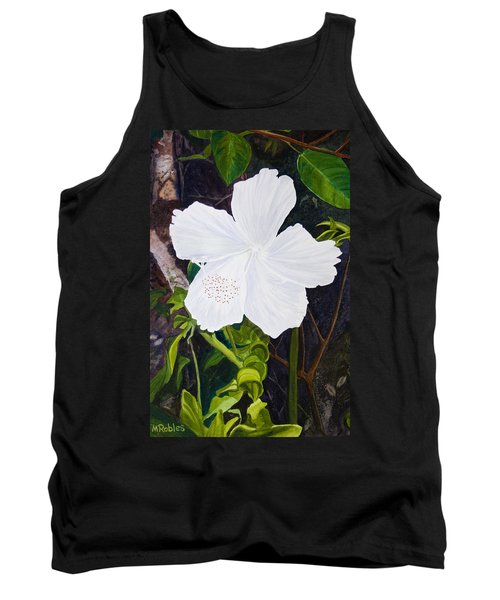 White Hibiscus Tank Top by Mike Robles