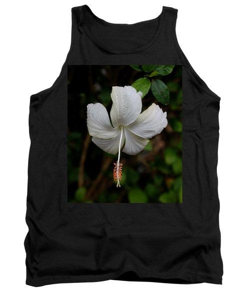White Hibiscus Tank Top by Pamela Walton