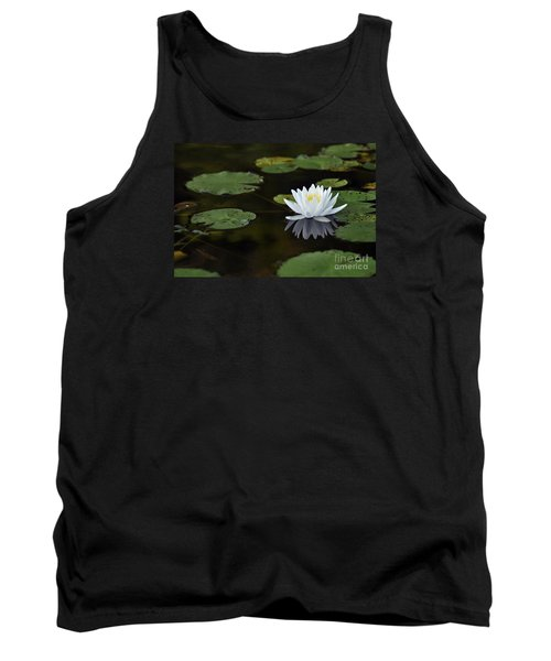 Tank Top featuring the photograph White Lotus Lily Flower And Lily Pad by Glenn Gordon