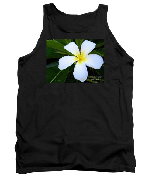 Tank Top featuring the mixed media White Plumeria by Anthony Fishburne