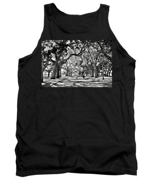 White Point Gardens At Battery Park Charleston Sc Black And White Tank Top