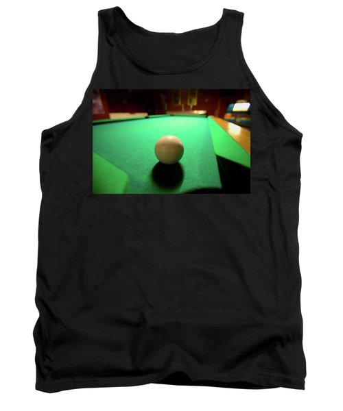 White Pool Ball Lit By Electric Lights Tank Top