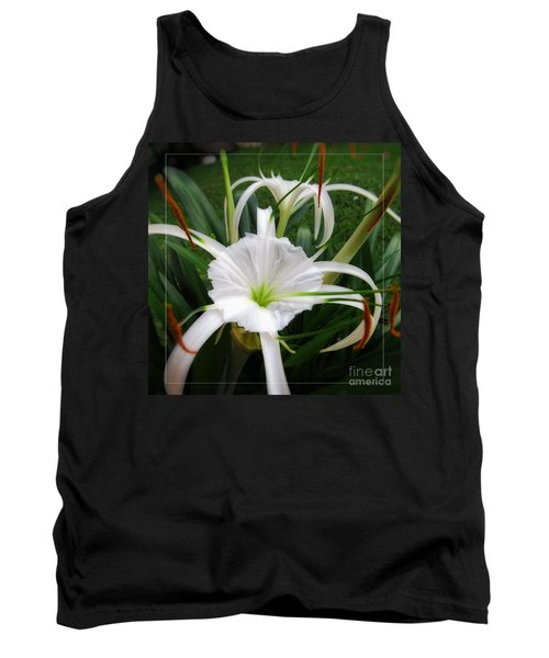 White Spider Lily Flower Tank Top