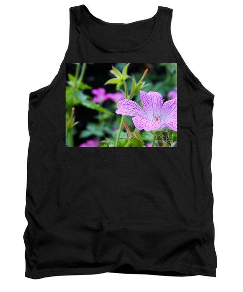 Wild Geranium Flowers Tank Top by Clare Bevan
