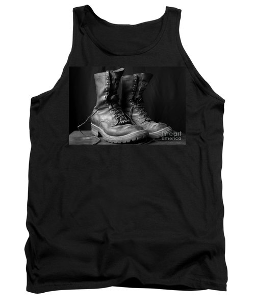 Tank Top featuring the photograph Wildland Fire Boots Still Life by Kerri Mortenson