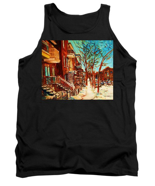 Tank Top featuring the painting Winter Staircase by Carole Spandau