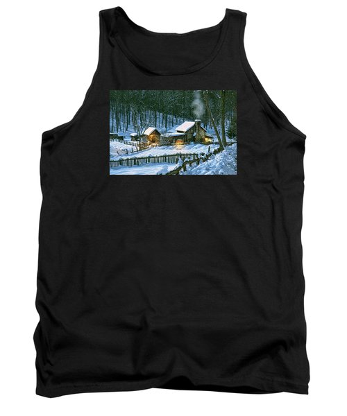 Tank Top featuring the digital art Winter's Haven by Mary Almond