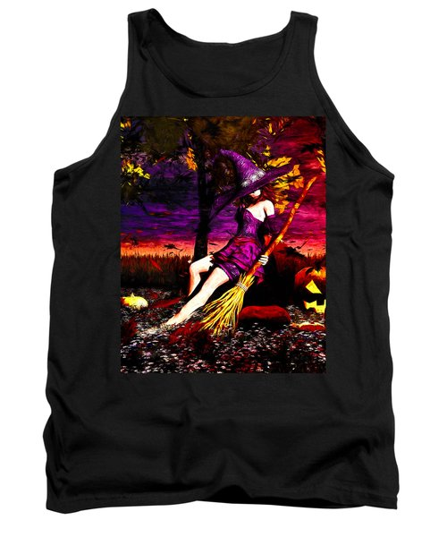 Witch In The Pumpkin Patch Tank Top by Bob Orsillo