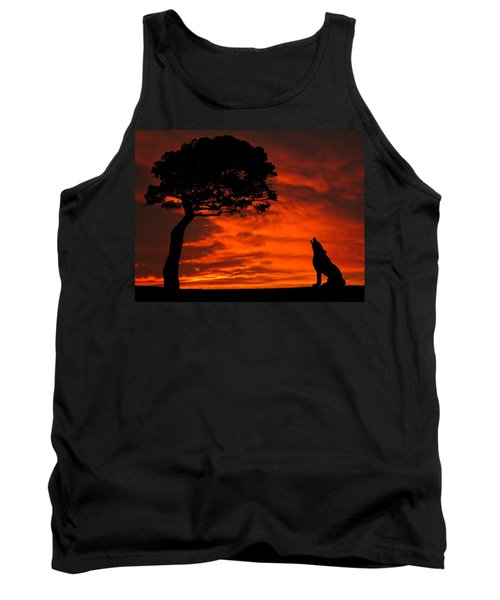 Wolf Calling For Mate Sunset Silhouette Series Tank Top