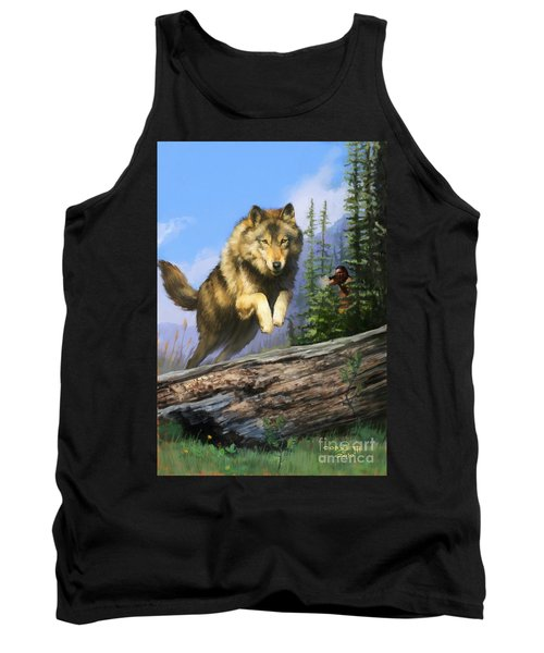 Tank Top featuring the painting Wolf Run Indian Hunter by Rob Corsetti