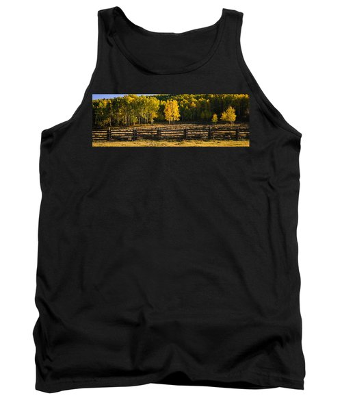 Wooden Fence And Aspen Trees Tank Top