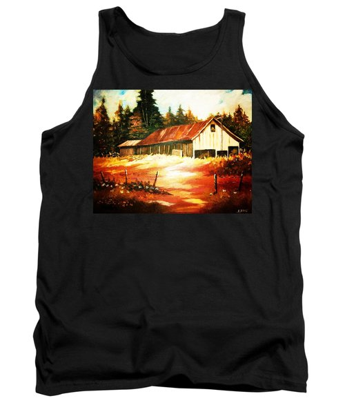 Tank Top featuring the painting Woodland Barn In Autumn by Al Brown