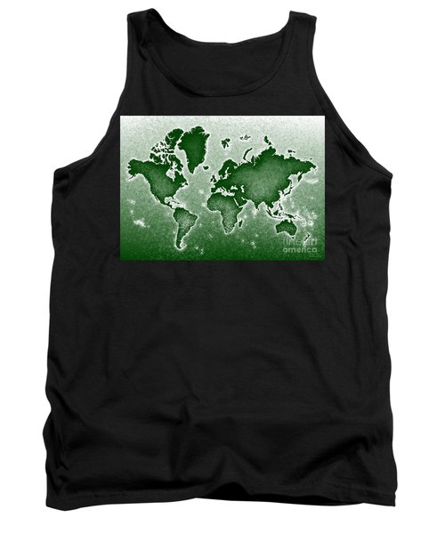 World Map Novo In Green Tank Top by Eleven Corners