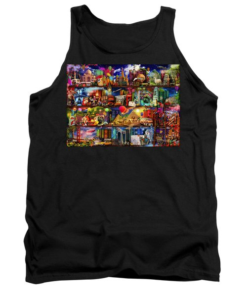 World Travel Book Shelf Tank Top