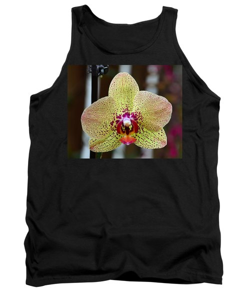 Yellow And Maroon Orchid Tank Top by Kathy Eickenberg