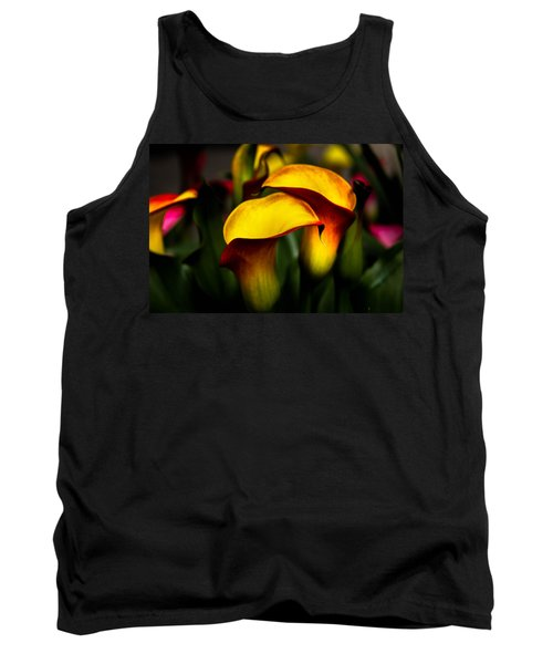 Yellow And Red Calla Lily Tank Top by Menachem Ganon