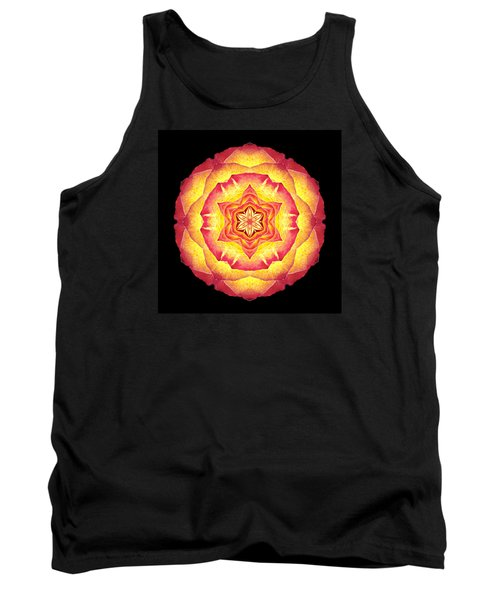 Yellow And Red Rose IIi Flower Mandala Tank Top