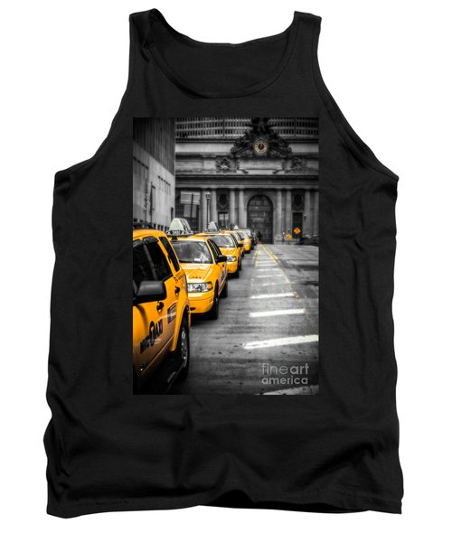 Yellow Cabs Waiting - Grand Central Terminal - Bw O Tank Top by Hannes Cmarits