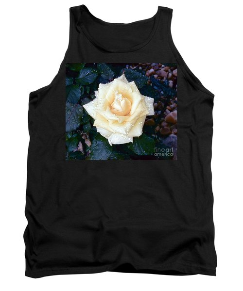 Tank Top featuring the photograph Yellow Rose At Dawn by Alys Caviness-Gober