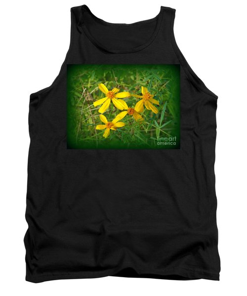 Tank Top featuring the photograph Yellow Quartet by Lew Davis