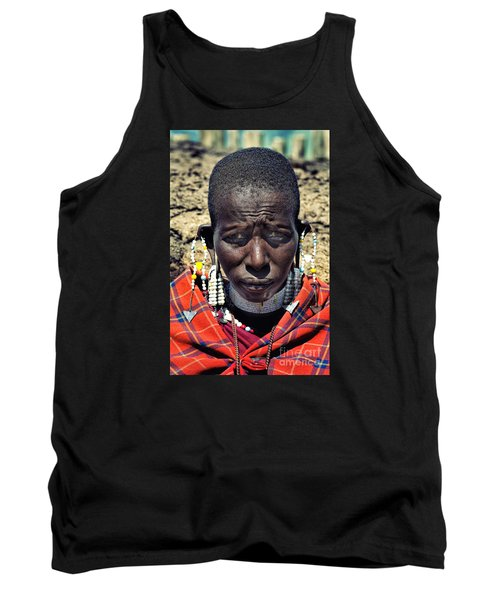 Tank Top featuring the photograph Portrait Of Young Maasai Woman At Ngorongoro Conservation Tanzania by Amyn Nasser