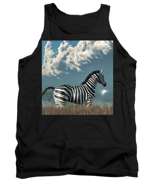 Zebra And Approaching Storm Tank Top