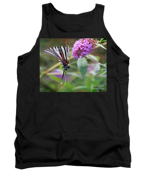 Zebra Swallowtail Butterfly On Butterfly Bush  Tank Top