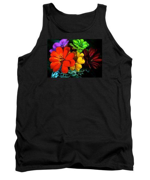 Tank Top featuring the photograph Zinnias by Lehua Pekelo-Stearns