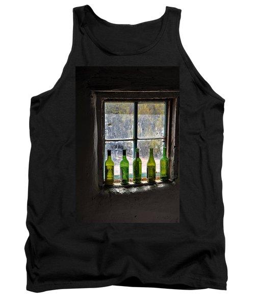 Green Bottles In Window Tank Top