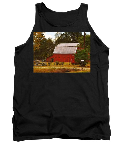 Tank Top featuring the photograph Ozark Red Barn by Lydia Holly