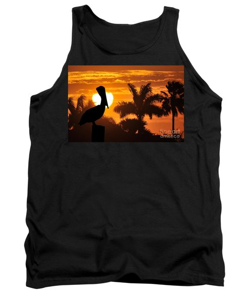 Tank Top featuring the photograph Pelican At Sunset by Dan Friend