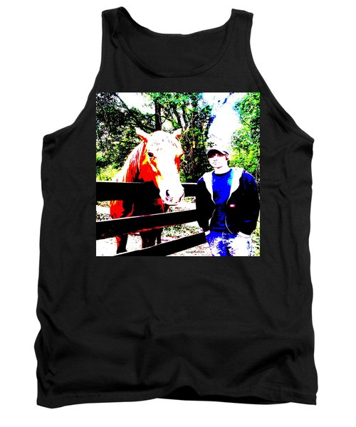 Tank Top featuring the photograph a Boy and his Horse by George Pedro