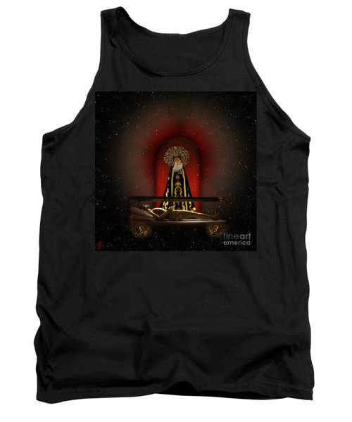 Tank Top featuring the digital art A Cosmic Drama by Rosa Cobos