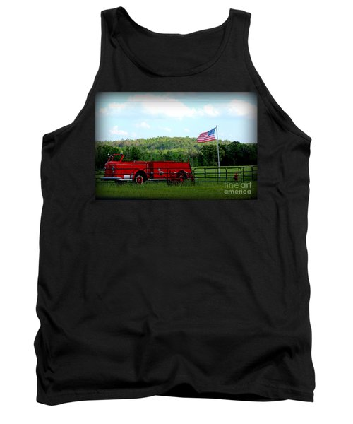 Tank Top featuring the photograph A Tribute To The Fireman by Kathy  White