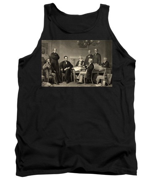Tank Top featuring the photograph Abraham Lincoln At The First Reading Of The Emancipation Proclamation - July 22 1862 by International  Images