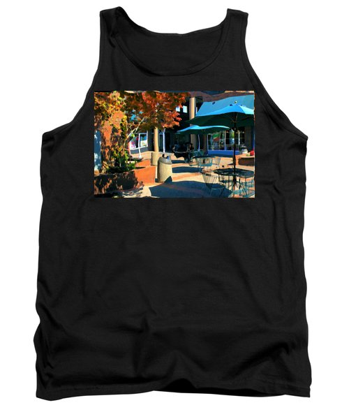 Tank Top featuring the mixed media Alice's Wonderland Cafe by Terence Morrissey