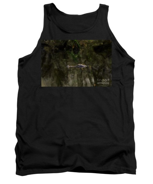 Tank Top featuring the photograph Alligator In Swamp by Dan Friend