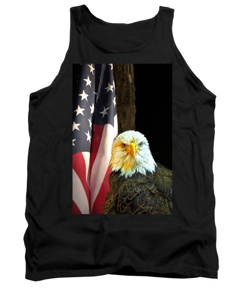 Tank Top featuring the photograph American Eagle And American Flag by Randall Branham