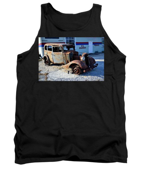 Tank Top featuring the photograph ...and Rotate The Tires by Larry Bishop