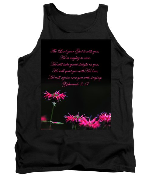 Tank Top featuring the photograph Bee Balm And Bible Verse by Randall Branham
