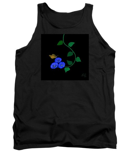 Tank Top featuring the painting Blue Flower Butterfly by Rand Herron