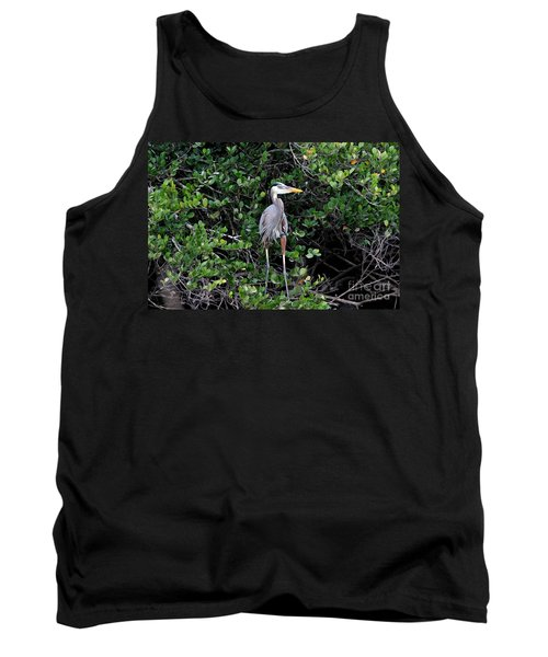 Tank Top featuring the photograph Blue Heron In Tree by Dan Friend