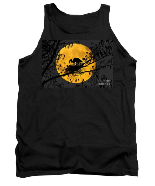 Tank Top featuring the photograph Blue Heron On Roost by Dan Friend